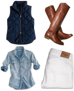 love puffers, riding boots, and denim! This outfit is perfect for me! Plus a baseball cap! :)