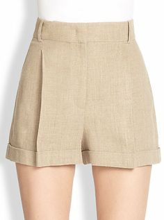 Michael Kors Pleated Linen Shorts In 0498546869043 Short Outfits, Summer Outfits, Short Dresses, Cute Outfits, Formal Shorts, Blazer And Shorts, Pants For Women, Clothes For Women, Linen Shorts