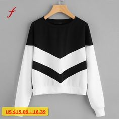FEITONG Sweatshirt For Women Fashion Girl Patchwork Long Sleeve O-Neck Crop Jumper Suede Pullover Tops Autumn Winter Shirt 2017