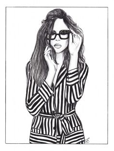 Black & White illustration was drawn from Vogue shoot
