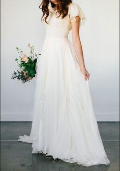 efd0a2ba415b Shop affordable Flowy Beach Short Sleeves Beaded Belt Temple Chiffon Modest Wedding  Dress at June Bridals! Over 8000 Chic wedding