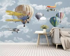 Kids room wallpaper custom wallpaper simple cartoon airplane balloon wallpaper home decoration papel mural Kids Room Wallpaper, Paper Wallpaper, Self Adhesive Wallpaper, Children Wallpaper, Wallpaper Ideas, Cartoon Airplane, Simple Cartoon, White Clouds, Traditional Wallpaper