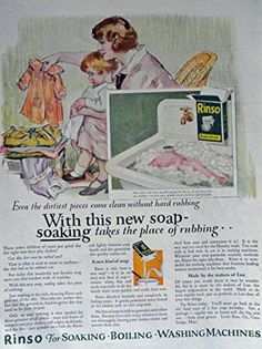 Rinco Soap, 20's Print Ad. Color Illustration (with this new soap soaking takes the place of rubbing / mother and daughter) Original Vintage 1924 Modern Priscilla Magazine Print Art