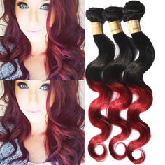 Burgundy Ombre Grade 6A Human Hair Extension Body Wave 50g/Bundle Hair Wefts #WIGISS #HairExtension