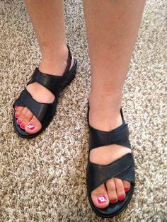 Munro American Tech Womens Slingback Sandals Black Leather US 8.5 M…