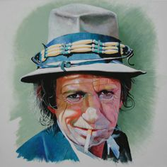 Keith Richard by Finn Jensen Rolling Stones Album Covers, Fan Art, Keith Richards, Illustrations, Music Love, Painters, Painting & Drawing, Danish, Breathe