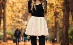 black tights, white mini, fitted black tee