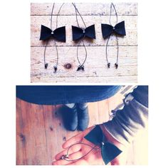 Handcrafted leather bow necklaces!! Check it: http://www.individual.gr/p.CHeiropoiito-kolie-me-dermatino-souent-fiogkaki.789491.html