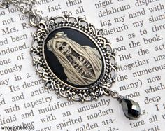 Skull Cameo necklace - Lady Muerte - Victorian Gothic lady skeleton cameo, spooky day of the dead bride, zombie, steampunk jewelry, horror