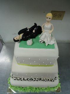 Soccer wedding cake Wedding Cake Toppers, Wedding Cakes, Wedding Bells, Wedding Events, Wedding Dreams, Dream Wedding, Soccer Wedding, Awesome Cakes, Lace
