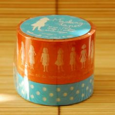 Orange and light blue. LOVE this masking tape! $10