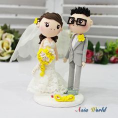 Wedding Cake topper in lace strapless mermaid wedding dress clay doll, wedding clay miniature in yellow theme, rings holder clay figurine on Etsy, $65.00
