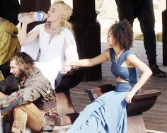 Game of Thrones:  Emilia Clarke and Nathalie Emmanuel on the set of Game of Thrones season 5 in Osuna, Spain; October 20th 2014