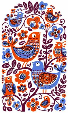 Folk Embroidery Patterns Creative Sketchbook: Swirling Patterns and Woodland Creations by Galia Bernstein Scandinavian Pattern, Scandinavian Folk Art, Gravure Illustration, Art And Illustration, Illustrations, Madhubani Art, Madhubani Painting, Folk Embroidery, Embroidery Patterns