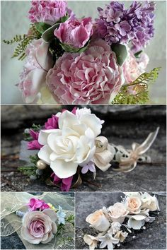 Every one of these flowers is amazing! No tutoritals, but I'm sure I can figure it out from the pictures. Heirloom Bouquets & Sculpted Floral Keepsakes {Bridal Accessories} | Confetti Daydreams - Feast your eyes on this collection of custom sculpted keepsake clay flowers ♥
