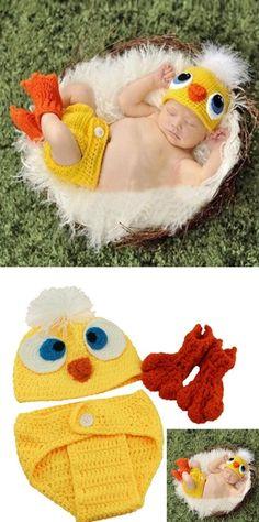 PC 1 fotografía del bebé Atrezzo pato recién nacido diseño hecho a mano de punto…