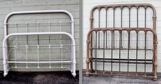 For those people looking for an Austere/Craftsman style antique iron bed, and thinking they're pretty much all the same......I offer you this example of how different they can be. The one on the left, more Depression Era circa 1900 and the one on the right more Victorian farmhouse from the mid-1800's.