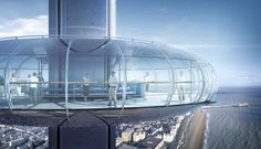 Brighton i360 urban observation tower, offering expansive views along the British coastline, construction starts.   Image © Marks Barfield architects/Brighton i360  The Brighton i360, an aerodynamic pod rising to a maximum height