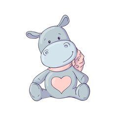 Illustration of Cute Hippo. Vector vector art, clipart and stock vectors. Baby Hippo, Cute Hippo, Cartoon Baby Animals, Cute Baby Animals, Illustration Mignonne, Cute Illustration, Hippo Drawing, Baby Shower Winter, Cute Animal Videos