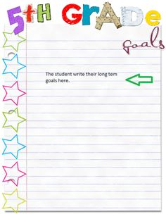 5th Grade Goals from Shop Shades of Teaching on TeachersNotebook.com -  (1 page)  - 5th Grade goal publishing page