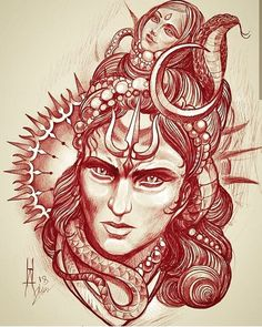 No photo description available. Bholenath Tattoo, Kali Tattoo, Shiva Tattoo Design, Ganesha Tattoo, God Tattoos, Lotus Tattoo, Hindu Tattoos, Kali Shiva, Shiva Hindu