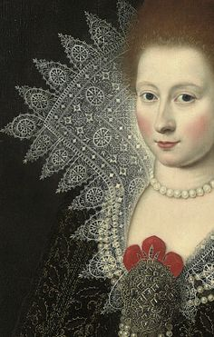 Paul van Somer, Portrait of a Lady possibly Anne of Denmark detail