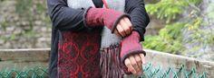 Cet automne, je vous propose des mitaines en alpaga, avec un motif pied de poule, création #AUFILDESNEIGES