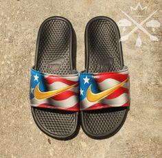 Nike Custom American Flag United States Benassi by DrippedCustomz Nike Custom, Custom Shoes, Cute Slides, Nike Slippers, Hype Shoes, Nike Benassi, Mens Flip Flops, Designer Sandals, Huaraches