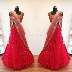 Stunning red color lehenga and blouse with blush pink color net dupatta. Blouse with hand embroidery mirror and zardosi work. Half Saree Lehenga, Lengha Choli, Lehnga Dress, Red Lehenga, Indian Bridal Lehenga, Party Wear Lehenga, Lehenga Style, Lehenga Blouse, Sari