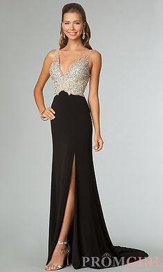 Floor Length Sleeveless V-Neck Dress at PromGirl.com #prom #dress #gown