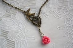Bridesmaid gift Flying bird antique rose pendant by missvirgouk, $13.80