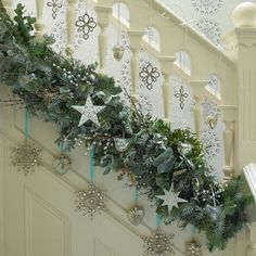 What a different way to hang garland on the stairs!  I prefer a more traditional greenery, but I think it's interesting how it is laid along the bottom of the rails. What really caught my eye were the Crystal accented ornaments hung from the rail & also from the garland, creating multiple levels of interest ~ Garland on bottom of rail rather than swagged from top~