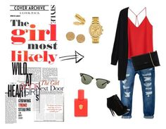"""THE GIRL MOST LIKELY"" by outfit-stagram ❤ liked on Polyvore featuring MANGO, Tabitha Simmons, Lanvin, Cartier, Lacoste, Karen Kane, Kelly Wearstler, Ray-Ban, outfit and red"