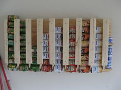 How To Build a Canned Food Storage Rack, many other great pantry, can storage ideas on this site: great tutorials. Creative Decor, Creative Storage, Kitchen Organization, Storage Organization, Storage Ideas, Kitchen Storage, Pantry Storage, Diy Kitchen, Smart Kitchen