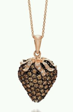 LeVian - chocolate Diamond pendant in strawberry Gold.