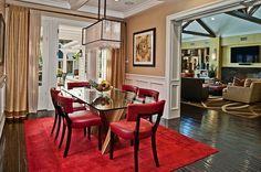 Residence in Hidden Hills by Sue Firestone; #DiningRoom #Red