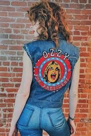 Worn leather biker jackets from the Deadwood.se, Penny Lane shearling coats, leopard print furs, vintage chain stitched and woven jackets galore Denim Jacket Patches, Ozzy Osbourne, Overall Shorts, Vintage Outfits, Vintage Clothing, Overalls, Tank Tops, My Style, Vest