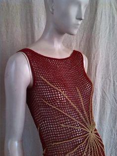 crochetmestres crochetmes3: Red roja con estrellas doradas y rubíes