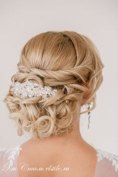 twist loose curly wedding hairstyle with beaded headpiece