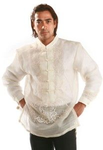 for the Filipino groom ... Barong Tagalog made of pineapple silk fibers