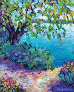 tranquil lake landscape impressionistic spring by everygoodcolor