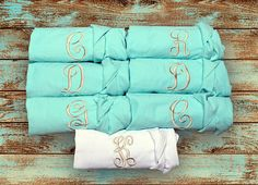 dc48fe8ff5 Items similar to Wedding Robes - SET OF 8 - Plain Cotton Robes -Bridesmaid  Robes - Cotton Robe - Set of EIGHT - Embroidered Robe - Monogrammed Robe -  Mint ...