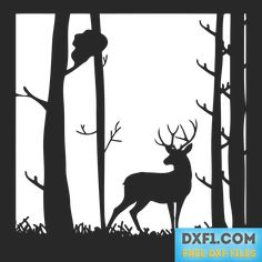 Deer in the Forest landscape vector DXF SVG. Forest landscape vector. Plasma cut file. Can be used for plasma cutting, laser cutting, waterjet cutting, EDM cutting, like a stencil for paper cutting out, wood burning stencil, cutting with a jig saw. Stencil for printing and crafting. Includes Free SVG, DXF, EPS, AI, PDF and PNG files.