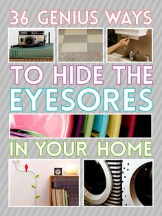 36 Genius Ways To Hide The Eyesores In Your Home (some of them are bad - 2 and 3 would overheat - but others are pretty neat ideas)