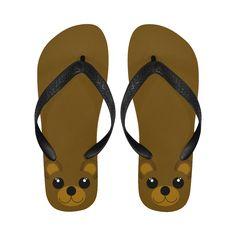 ee45a0df2367b6 Kawaii Brown Bear Flip Flops for Men Women By Gravityx9 Designs at Artsadd  ~