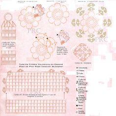 Pink Rose Crochet Gráficos: Gráfico do Tapete Flores Coloridas Crochê