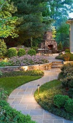 Beautiful Backyard Garden Path & Walkway Ideas On A Budget Schöne Hinterhof Gartenweg & Small Gardens, Outdoor Gardens, Indoor Garden, Indoor Plants, Small Garden Landscape, Backyard Landscape Design, House Landscape, Landscape Bricks, Landscape Fabric