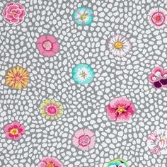 Tissu Spring 2014 - Guinea Flower Grey x 10cm