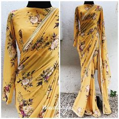 SAVANNAH This is one of the prettiest prints Waidurya have ever worked with. Absolute stunner. Pure georgette floral sari in a pastel yellow base. The border is a stunning ivory gold sequin worked one. Love love love! 28 July 2019