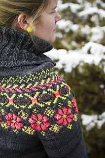 Free pattern for feminine winter sweater with cowl neck and Fair Isle styled yoke.